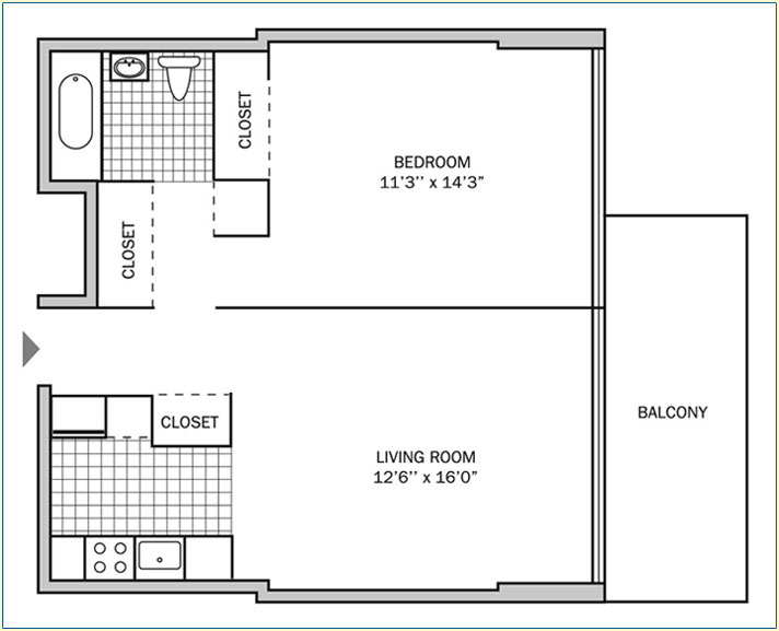 One Bedroom | One Bath 650 sq. ft.