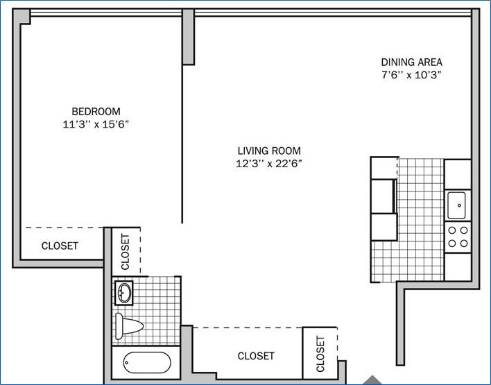 One Bedroom | One Bath 740 sq. ft.