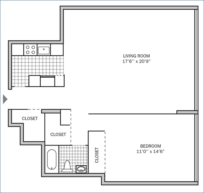 Two Bedroom | One Bath 1000 sq. ft.