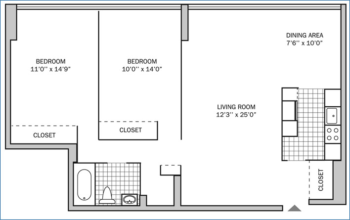 Two Bedroom One Bath 1000 Sq Ft