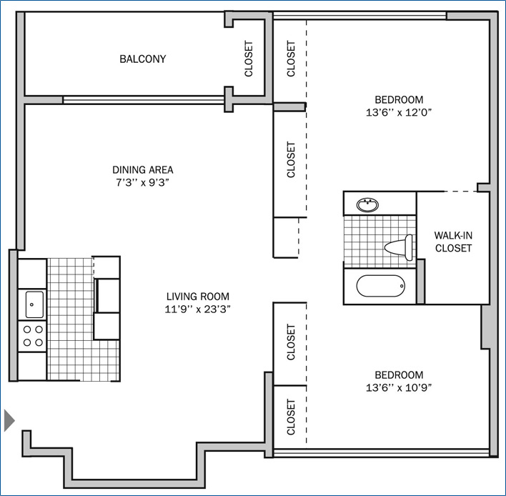 Two Bedroom | One Bath 1150 sq. ft.